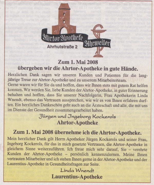 Annonce zur Übernahme der Ahrtor-Apotheke